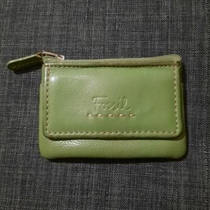 Fossil Leather Coin Purse With Keychain and Zipper